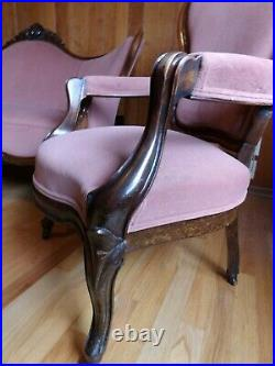 Antique Settee and Chair original fabric and finish, circa 1830-1850