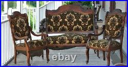 Antique Settee set with Rocker and 3 chairs 5 piece set