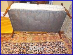 Antique Sheraton Style Wood Inlaid Loveseat Sofa Pineapple fabric Upholstery