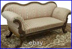 Antique Sofa, Biedermeir, Parlor, Carved & Upholstered Floral, 1800's, Gorgeous