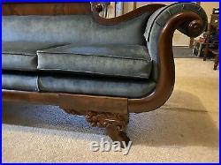 Antique Sofa Circa 1800s. Excellent Condition. Deep dark brown with blue velvet