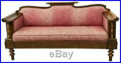 Antique Sofa, Continental Upholstered Mahogany, Pink Floral, 19th C. (1800s)