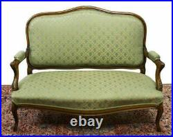 Antique Sofa, Louis XV Style Upholstered, Walnut Settee, Light Green, 1800s