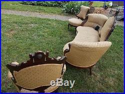 Antique Solid Rosewood John Jelliff 3pc Living Room Set Original Finish