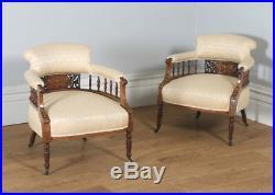 Antique Three 3 Piece Edwardian Rosewood Mahogany Inlaid Salon Sofa Suite c. 1900