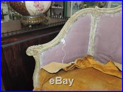 Antique ULTRA FRENCH PAINTED SHABBY CHIC GREAT SIZE Settee WHITE WASH OLD Carved