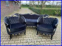 Antique Unique French Louis XVI sofa/settee/loveseat 1900's in black-