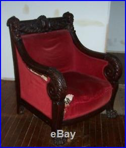 Antique Victorian 1870 Carved Parlor Settee & Armchair Sir Henry Oaks Canada