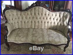 Antique Victorian Beige Sofa Settee Loveseat Tufted Carved Wood Vintage