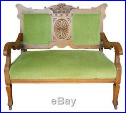 Antique Victorian Carved Oak Settee Loveseat Chair Green Upholstery Fleur De Lis