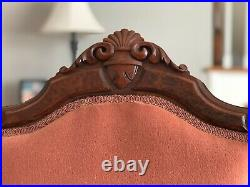 Antique Victorian Carved Settee Loveseat and Matching Chair / Parlor Set