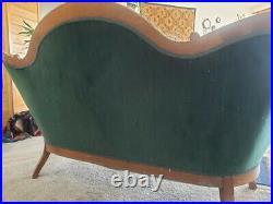 Antique Victorian Carved Wood Medallion Green Velvet Sofa Settee Loveseat
