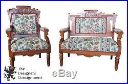 Antique Victorian Eastlake Walnut Carved Parlor Set Settee Armchair & Ottoman