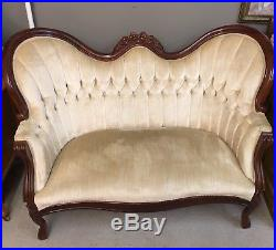 Tremendous Antique Victorian French Settee Mahogany Yellow Gold Tufted Home Interior And Landscaping Analalmasignezvosmurscom