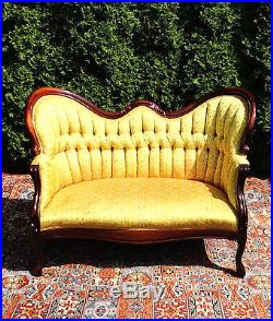 Fantastic Antique Victorian French Settee Mahogany Yellow Gold Tufted Home Interior And Landscaping Analalmasignezvosmurscom