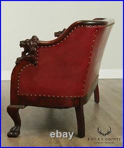 Antique Victorian Mahogany Lion Head Carved Sofa