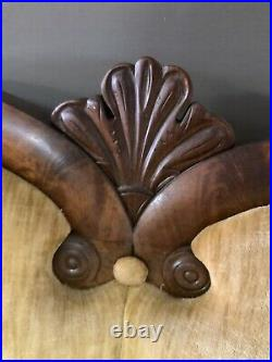 Antique Victorian Mahogany Sofa Decorative Carving Gold Velvet Color