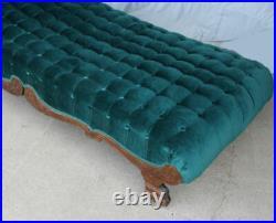 Antique Victorian Oak Fainting Couch Chaise Lounge Sofa