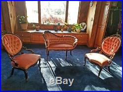 Antique Victorian Parlor Set 3 PCS Settee and Chairs