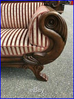Antique Victorian Pre Rj Horner Era Empire Paw Foot Dolphin Sofa Settee Couch