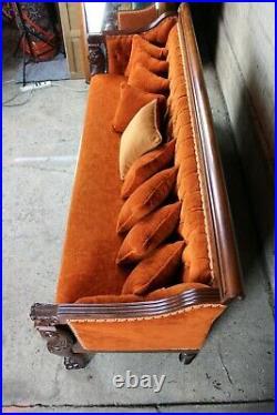 Antique Victorian Renaissance Revival Mahogany Figural Lion Tufted Library Sofa