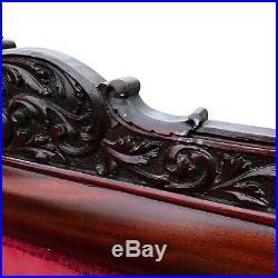 Antique Victorian Rococo Carved Mahogany Red Floral Settee Sofa with Curled Arms