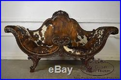 Antique Victorian Rosewood Tete-a-Tete Cowhide Settee