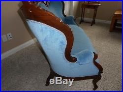 Antique Victorian Sofa Blue Upholstery Loveseat Settee Chaise Couch
