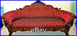 Antique Victorian Sofa / Couch. Hand Carved Mahogany with Silk Thread