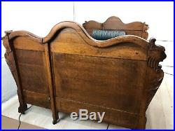 Antique Victorian Sofa Hide A Bed Lions Head Gothic Revival Couch