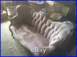 Antique Victorian Sofa Upholstery Loveseat Settee Chaise Couch