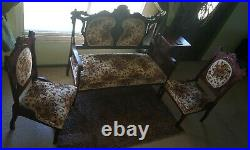 Antique Victorian Style Settee and Chairs 3 Piece Set Parlor Room