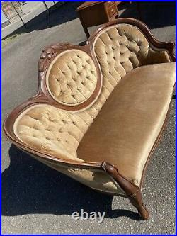 Antique Victorian Swoop Carved Settee Sofa Loveseat Tufted Couch Gold French Old