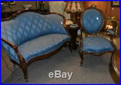 Antique Victorian Upholstered Settee Walnut Carved Frame Cabriole Legs