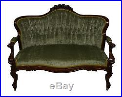 Antique Victorian Walnut Carved Rococo Revival Tufted Settee Loveseat