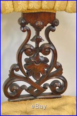 Antique Victorian Walnut Upholstered Parlor Settee Carved Details
