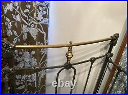 Antique Victorian Wrought Iron & Brass Baby Crib, Daybed, Settee, Loveseat