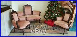 Antique Victorian sofa and two chairs walnut matching