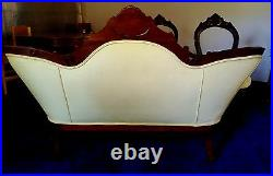 Antique Victorian style yellow tufted cameo parlor sofa & three chairs can ship