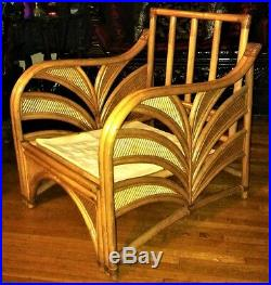 Antique Vintage Art Deco Sofa Chair Wicker Palm Bamboo Garden Patio Rattan Big