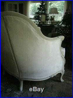 Antique Vintage Louis XV French Style Provincial Ornately Carved Settee Sofa