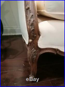 Antique Vintage Louis XV Loveseat / Couch / Sofa / Settee. Carved Oak Frame