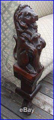 Antique Vintage Love Seat Couch Carved Lions Must See
