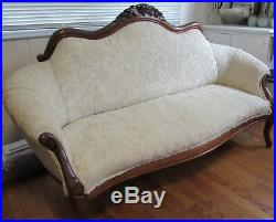 Antique Vintage Victorian Loveseat / Sofa / Settee / Couch with carved Walnut Wood