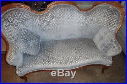 Antique Vintage Victorian Walnut Parlor Love seat Couch Blue Velvet 2 Pillows