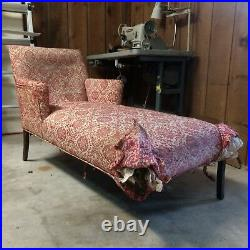 Antique / Vintage chaise lounge Teal / Blue Newly restored and upholstered