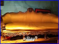 Antique carved swan sofa european
