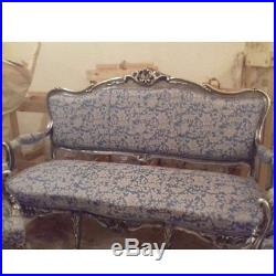 Antique living room set in Louis xvi style, sofa and 2 chairs