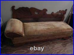 Antique oak fainting couch