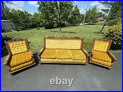 Antique parlor set settee and two armchairs